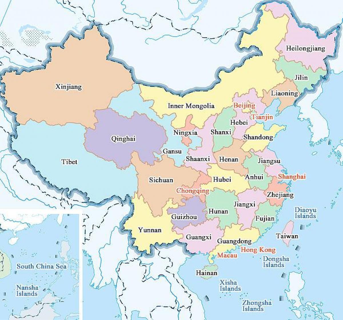 Carte Chine Villes Provinces.Carte De La Chine De Provinces Et De Villes La Carte De La