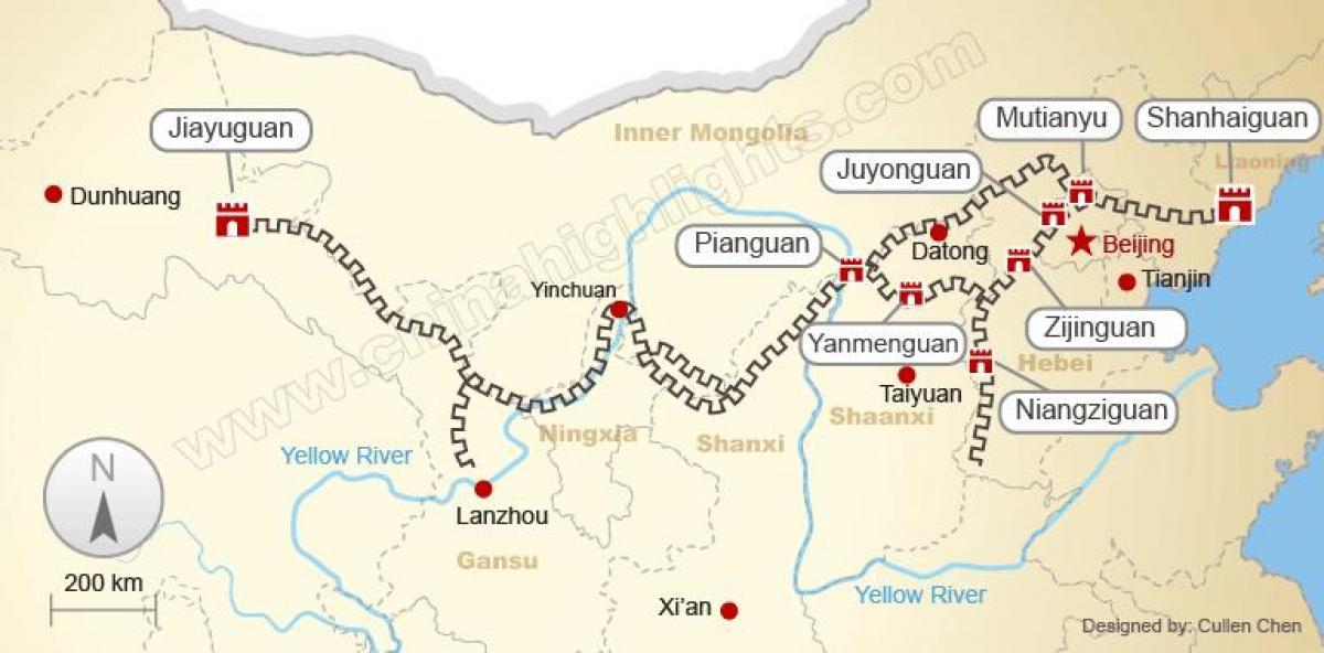 Carte Chine Grande Muraille.Carte De La Grande Muraille De Chine La Grande Muraille De
